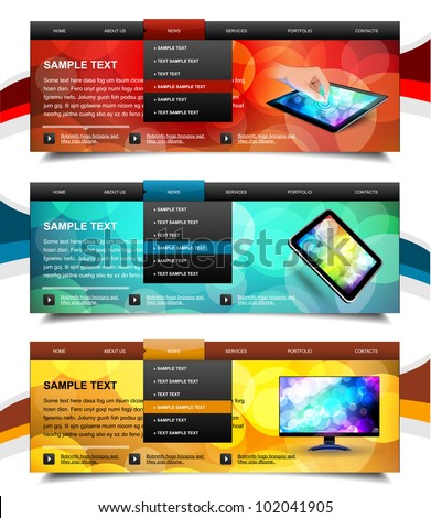 Set of website navigation templates 6. Variant on White. - stock vector