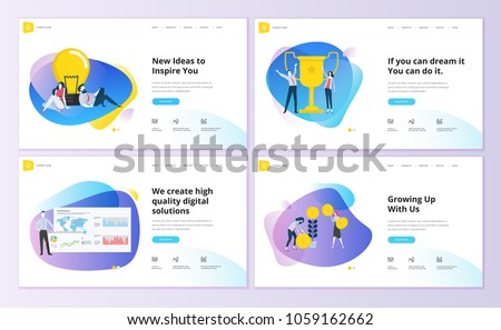 Set of website template designs. Vector illustration concepts of web page design for website and mobile website development. Easy to edit and customize.
