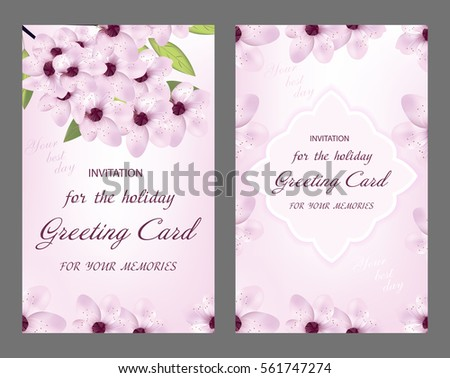 Modelo de vetor de convite de casamento de sakura download vetores decorative greeting card or invitation design with cherry flower vector stopboris Image collections