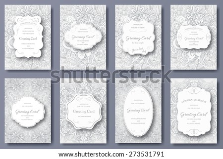 Set of wedding card flyer pages ornament illustration concept. Vintage art traditional, Islam, arabic, indian, ottoman motifs, elements. Vector decorative retro greeting card or invitation design.