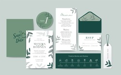 Set of Wedding Card template Background. For Invitation, menu, rsve, thank you, Decoration with leaf & floral flower watercolor style. Timeline with icon thin style. Vector illustration.
