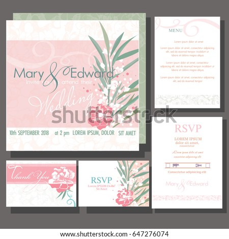 Set of wedding cards or announcement with roses wedding bouquet. Design of the Resource ReSerVation Protocol, Thank You card, Menu card #647276074