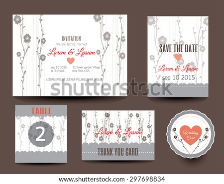 Set of wedding cards. Save the date.vector  - stock vector