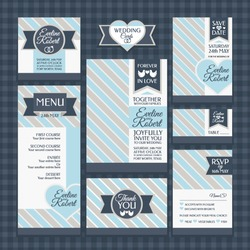 Set 1 of wedding cards. Wedding invitations, Thank you card, Save the date card, Table card, RSVP card and Menu.