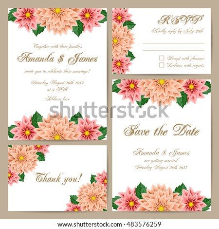 Set of wedding cards with delicate floral ornament. Vector illustration #483576259