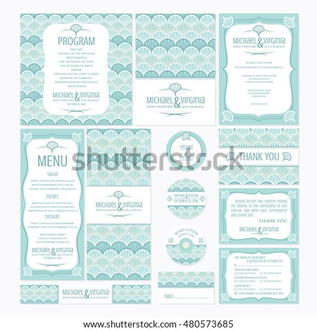 Set of wedding cards with japanese styled pattern, vector illustration