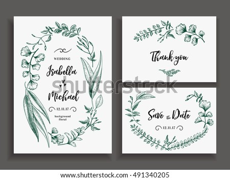 Coleo de folhas de eucalipto vector download vetores e set of wedding cards with leaves herbs and flowers wedding invitation save the stopboris Image collections