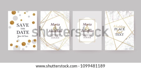 Set of wedding cards with marble texture and gold geometric frame. Design for cover, invitation, birthday, brochure background. Branding identity template. Vector illustration.