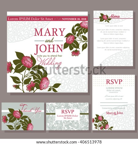 Set of wedding cards with red rose. RSVP and menu card #406513978