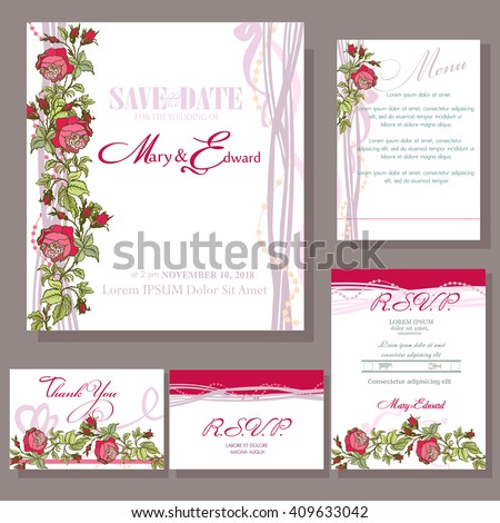 Set of wedding cards with red rose. RSVP and menu card #409633042