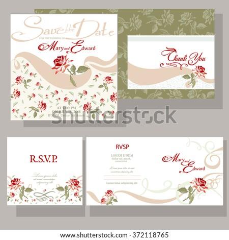 Set of wedding cards with red rose. RSVP card set #372118765