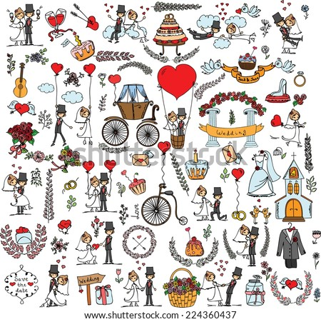 set of wedding doodle template