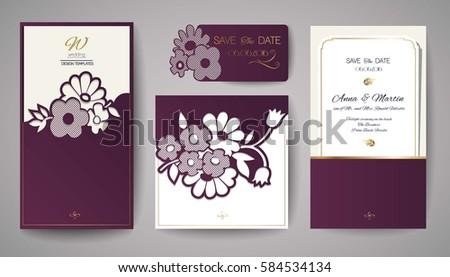 Set of Wedding Floral Invitation. Template for laser cutting. Vector illustration.