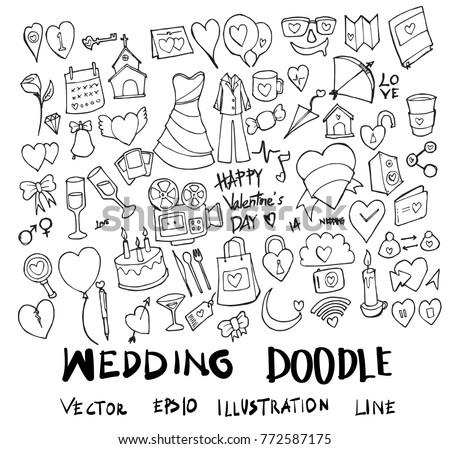 Set of wedding illustration Hand drawn doodle Sketch line vector