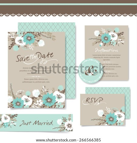 set of wedding invitation card