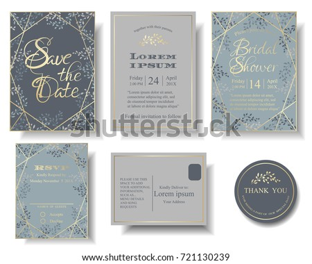 Set of Wedding Invitation Card . Blue and Gray Color Tone. Many Leaves round of frame has blank space for your text. RSVP Card for Response. Envelope for this theme.Stickers.Tags.Vector/Illustration