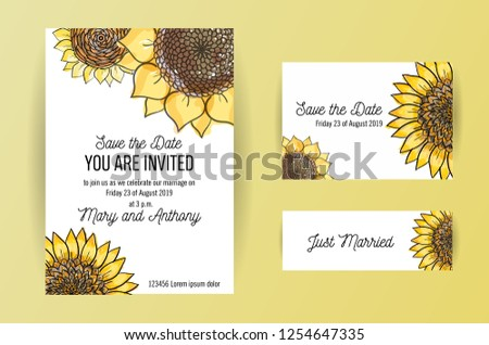 set of 3 wedding invitation
