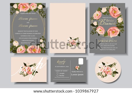 Set of Wedding invitation Card with bumming floral on gray background. Bridle shower card.RSVP.Thank you card for your wedding celebration. #1039867927