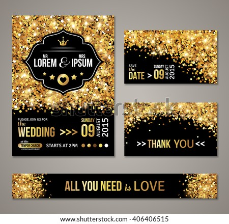Black and gold background download free vector art stock graphics set of wedding invitation cards design gold confetti and black background vector illustration stopboris Gallery