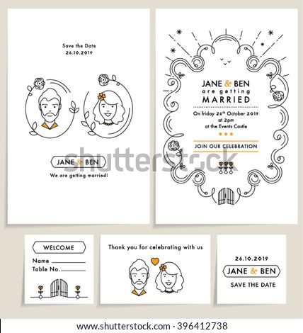 SET OF WEDDING INVITATION CARDS. wedding collection with doodle line art elements. Editable vector illustration mock up file.