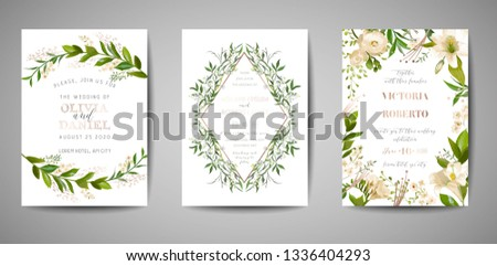 Set of Wedding Invitation, floral invite, thank you, rsvp rustic card design with gold foil decoration. Vector elegant modern template on white background