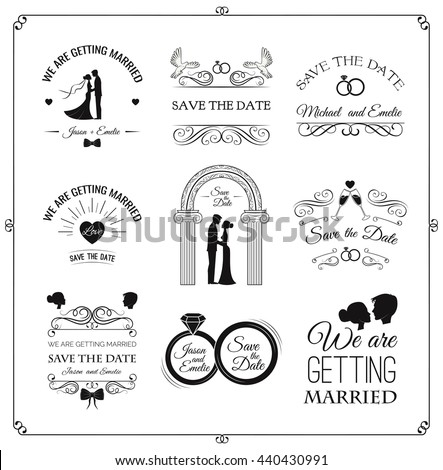 Vector Images Illustrations And Cliparts Set Of Wedding Invitation