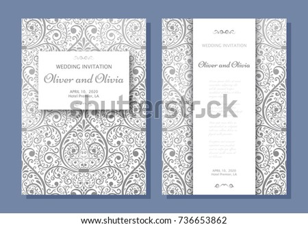 Free ornament border for invitation or poster download free vector set of wedding invitation templates cover design with silver damask ornaments vector illustration stopboris Gallery