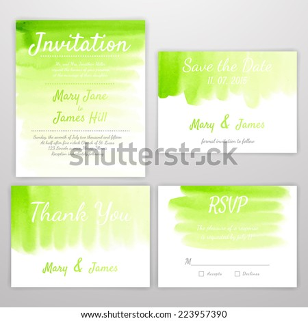 Set of Wedding Invitation with watercolor background