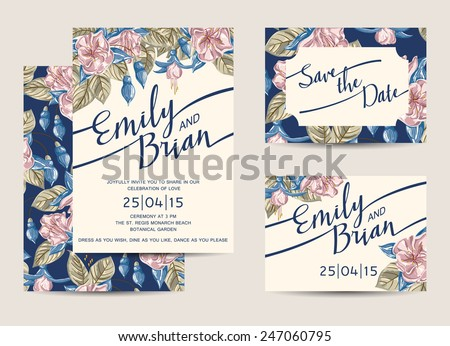Set of Wedding Invitations Template. Vector Illustration.