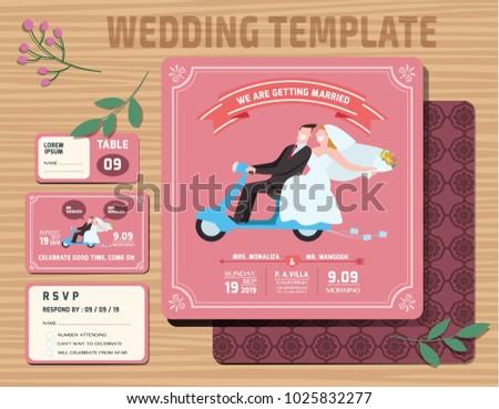 Set of Wedding Invitations Template.Vector Illustration. modern design.
