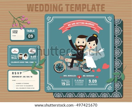 Set of Wedding Invitations Template.