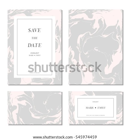 set of  wedding marble cards
