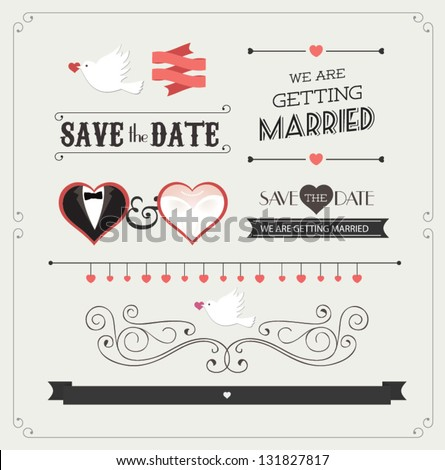 Set of wedding ornaments and decorative elements, vintage banner, ribbon, labels, frames, badge, stickers. Vector love element. #131827817