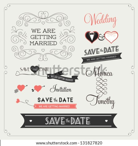 Set of wedding ornaments and decorative elements, vintage banner, ribbon, labels, frames, badge, stickers. Vector love element. #131827820