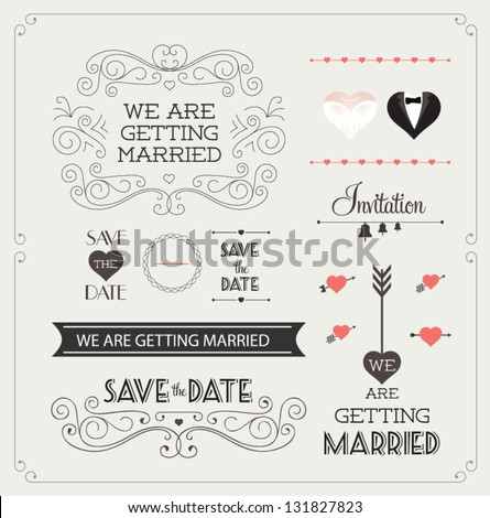 Set of wedding ornaments and decorative elements, vintage banner, ribbon, labels, frames, badge, stickers. Vector love element. #131827823
