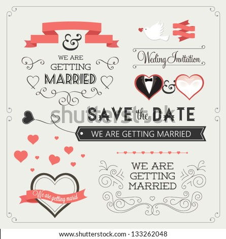 Set of wedding ornaments and decorative elements, vintage banner, ribbon, labels, frames, badge, stickers. Vector love element. #133262048