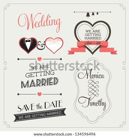 Set of wedding ornaments and decorative elements, vintage banner, ribbon, labels, frames, badge, stickers. Vector love element. #134596496
