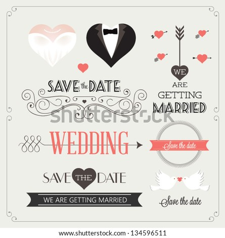 Set of wedding ornaments and decorative elements, vintage banner, ribbon, labels, frames, badge, stickers. Vector love element. #134596511