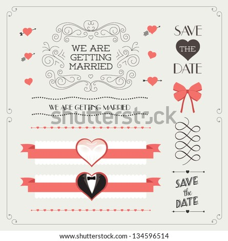 Set of wedding ornaments and decorative elements, vintage banner, ribbon, labels, frames, badge, stickers. Vector love element. #134596514