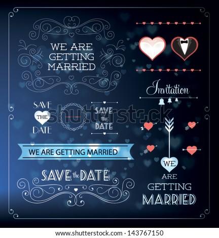 Set of wedding ornaments and decorative elements, vintage banner, ribbon, labels, frames, badge, stickers. Vector love element. #143767150