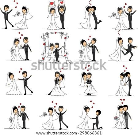set of wedding pictures  bride
