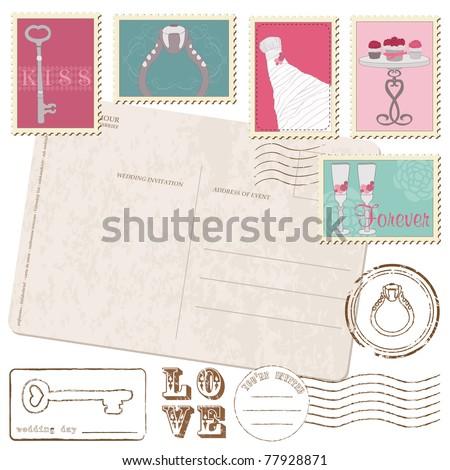 Set Of Wedding Postage Stamps and Vintage postcard
