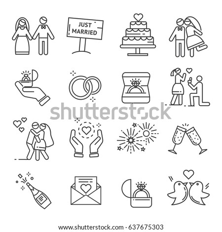Set of wedding Related Vector Line Icons. Includes such Icons as wedding rings, engagement, fireworks, champagne, love, kiss, bride, groom, doves, marriage proposal