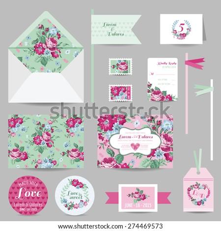 set of wedding stationary