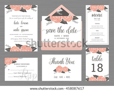Set of wedding invitation card suite with flower decoration set of wedding suite template decorate with rose flower includes save the date wedding wedding invitation stopboris Choice Image
