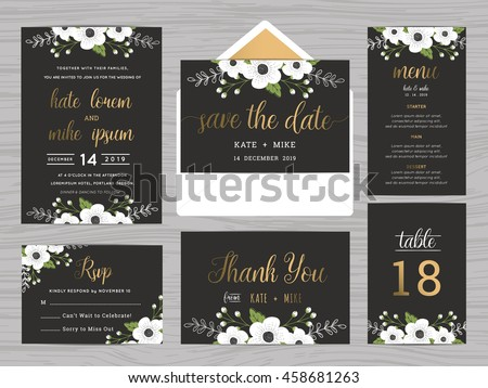 Set of wedding suite template decorate with white flowers. Includes save the date, wedding invitation, wedding menu, RSVP, thank you card and table number. Vector illustration.