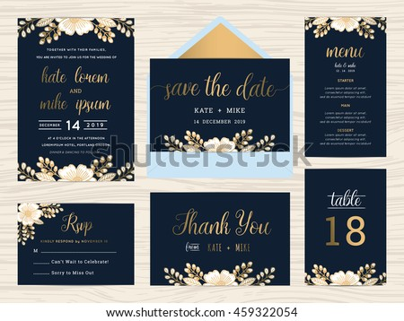 set of wedding suite template