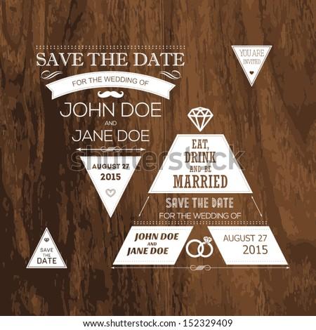 set of wedding typography tree