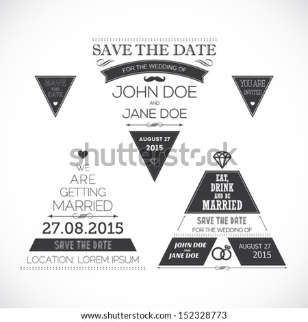 Set of wedding typography triangle