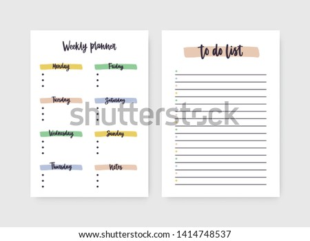 Set of weekly planner and to-do-list templates with headings highlighted by paint traces. Decorative daily plan, schedule, reminder or timetable. Printable sheet. Stylish vector illustration.